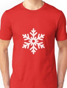 White Snowflake with Red Background Unisex T-Shirt