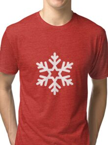 White Snowflake with Red Background Tri-blend T-Shirt