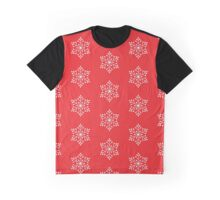 White Snowflake with Red Background Graphic T-Shirt