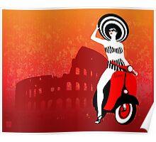Vespa Woman Poster