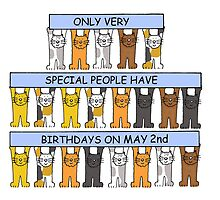 Date specific birthday card for May2nd, cartoon cats. by KateTaylor