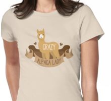Crazy Alpaca lady on a banner Womens Fitted T-Shirt