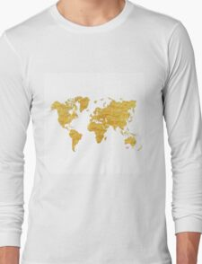 World Map Gold Vintage Long Sleeve T-Shirt