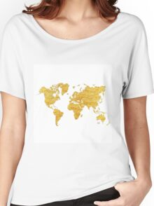 World Map Gold Vintage Women's Relaxed Fit T-Shirt