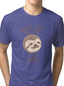 Stoner Sloth - Pass the salt (male) Tri-blend T-Shirt