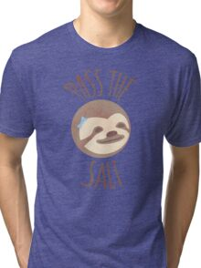 Stoner Sloth - Pass the salt (female) Tri-blend T-Shirt