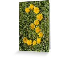 number three designed with dandelion on the lawn Greeting Card