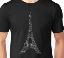 Typographic Eiffel Tower Unisex T-Shirt