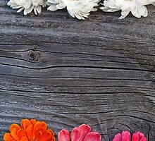 Old boards with flowers vintage concept by juras