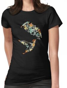 Teal Floral Hummingbird Womens Fitted T-Shirt