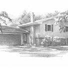 family house drawing by Mike Theuer