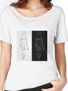 Girl posing in fashionable outfit  Women's Relaxed Fit T-Shirt