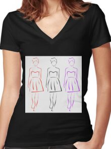 Girl posing in fashionable outfit  Women's Fitted V-Neck T-Shirt