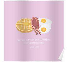 Leslie Knope Loves Breakfast Food Poster