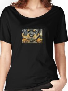 Impressinist Rottweiler Puppy Portrait in Vincent van Gogh Style Women's Relaxed Fit T-Shirt