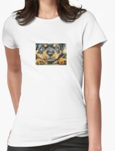 Impressinist Rottweiler Puppy Portrait in Vincent van Gogh Style Womens Fitted T-Shirt