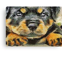 Impressinist Rottweiler Puppy Portrait in Vincent van Gogh Style Canvas Print