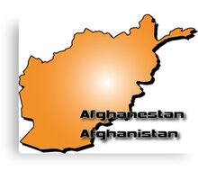 Afghanistan map in 3D Style Canvas Print