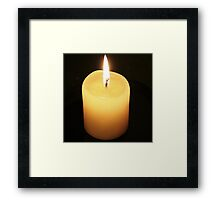 Candle On Black Background Framed Print