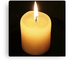 Candle On Black Background Canvas Print