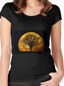 Tree and Moon  Women's Fitted Scoop T-Shirt