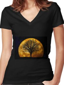 Tree and Moon  Women's Fitted V-Neck T-Shirt
