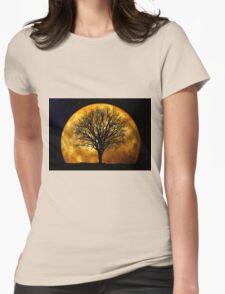 Tree and Moon  Womens Fitted T-Shirt