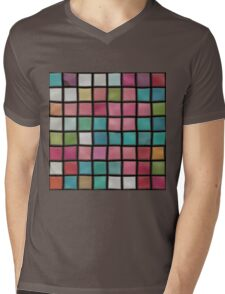 Colorful squares pattern Mens V-Neck T-Shirt