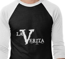 La Verita Logo (white) Men's Baseball ¾ T-Shirt