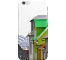 Colorful Streets of Reykjavik with Mountains iPhone Case/Skin