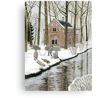 Children Building A Snowman Canvas Print
