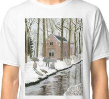 Children Building A Snowman Classic T-Shirt