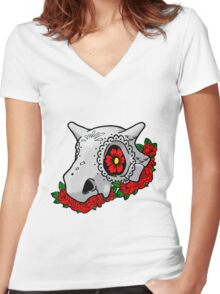 day of the dead cubone Women's Fitted V-Neck T-Shirt