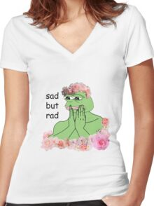 pastel pepe Women's Fitted V-Neck T-Shirt