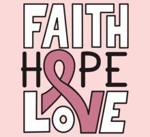 Faith Hope Love - Breast Cancer Awareness One Piece - Long Sleeve