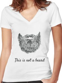 This is not a beard (white background) Women's Fitted V-Neck T-Shirt