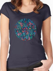 Tropical Ink - a watercolor garden Women's Fitted Scoop T-Shirt