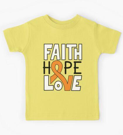Faith Hope Love - Kidney Cancer Awareness Kids Tee