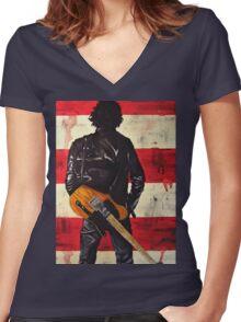 Bruce Springsteen Women's Fitted V-Neck T-Shirt
