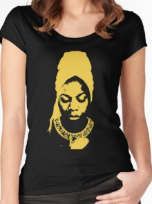 Nina Simone Yellow Women's Fitted Scoop T-Shirt