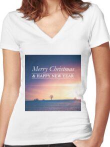 Postcard Winter Landscape I Women's Fitted V-Neck T-Shirt