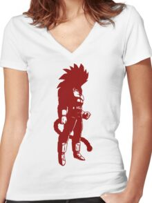 Monkey warrior (red) Women's Fitted V-Neck T-Shirt