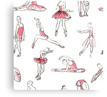 ballerina standing in a pose seamless pattern Canvas Print