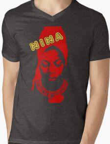 Nina Simone Red Mens V-Neck T-Shirt