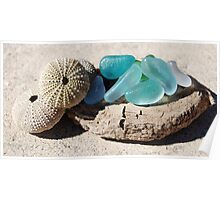 10 Sea glass and sea shells collection Poster