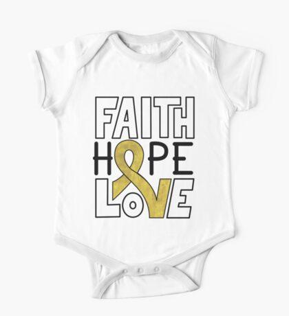 Faith Hope Love - Childhood Cancer Awareness One Piece - Short Sleeve