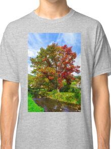 Vivid colors of autumnal nature, red oak on the river, french countryside Classic T-Shirt