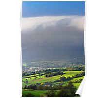 Big white cloud over the beautiful green valley, Alsace, France Poster