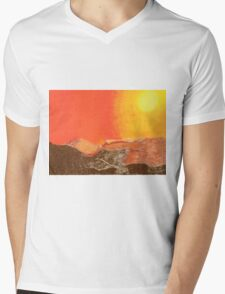 Sun Over Mountains Mens V-Neck T-Shirt