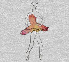 ballerina figure, watercolor illustration One Piece - Short Sleeve